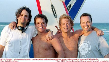 Matt Damon, Greg Kinnear, with Directors: Peter Farrelly, Bobby Farrelly in Stuck on You (2003) 