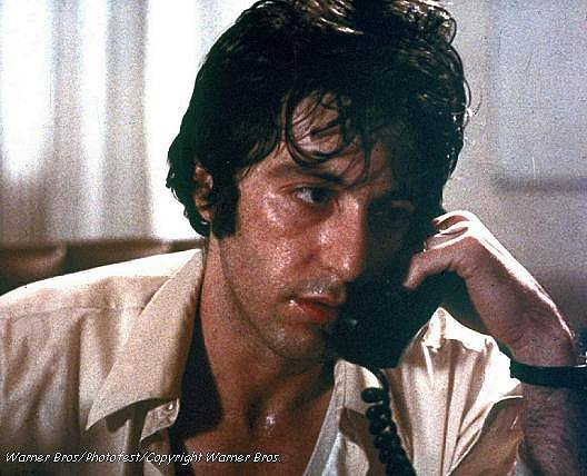 Al Pacino makes a tough call as amateur Bank Robber Sonny Wortzik in Sidney Lumet's Dog Day Afternoon (1975)